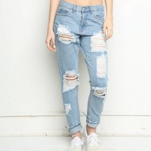 Brandy Melville High Rise Destroyed Jeans